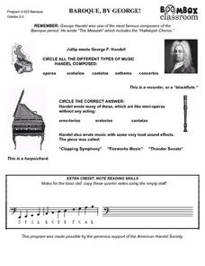 Boombox Classroom: Baroque, By George! Worksheet