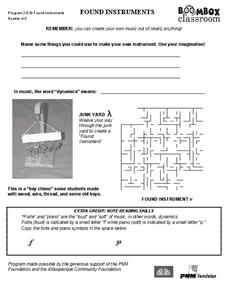 Boombox Classroom: Found Instruments Worksheet