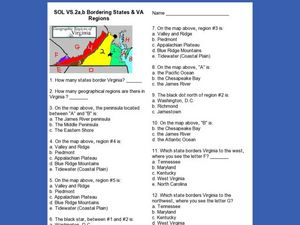 Bordering States & VA Regions Worksheet