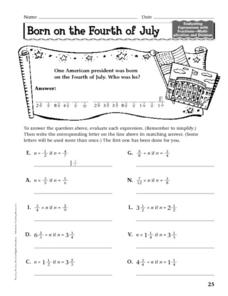 Born on the Fourth of July Worksheet