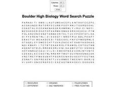 Boulder High Biology Word Search Puzzle Worksheet