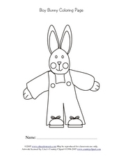 Boy Bunny Coloring Page Worksheet