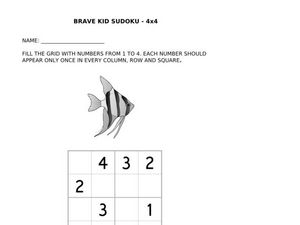 Brave Kid Sudoku 4 x 4 Fish Worksheet