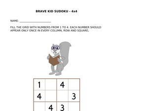 Brave Kid Sudoku 4 X 4 (Squirrel) Worksheet