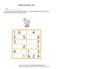 Brave Kid Sudoku 6 x 6, #2 Worksheet