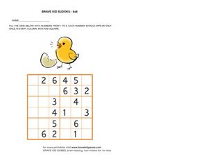 Brave Kid Sudoku 6 x 6: Duck Worksheet