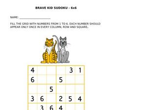 Brave Kid Sudoku 6 x 6 Worksheet
