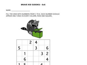 Brave Kid Sudoku: Raccoon Worksheet