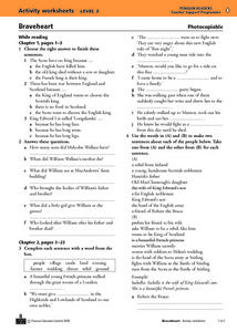 Braveheart Activity Worksheet and Progress Test Worksheet