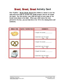 Bread, Bread, Bread Activity Card Worksheet