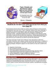 Breads And Nutritional Labels Lesson Plan
