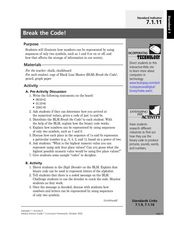 Break the Code! Lesson Plan