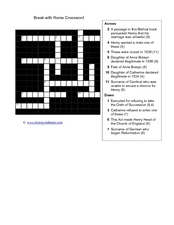 Break with Rome Crossword Worksheet