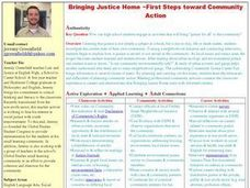 Bringing Justice Home ~First Steps toward Community Action Lesson Plan