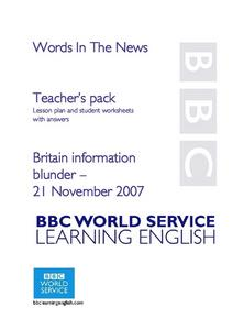 Britain Information Blunder Lesson Plan