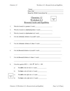 Bronsted Acids and Equilibria Lesson Plan