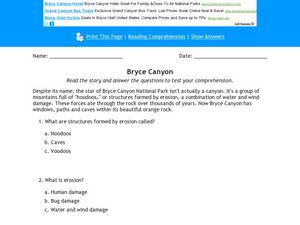 Bryce Canyon Worksheet