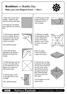 Buddhism - Buddha Day, Make your own Origami Crane - Part 1 Worksheet