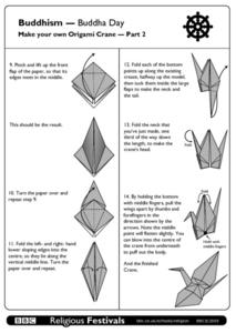 Buddhism - Buddha Day, Make Your Own Origami Crane Part 2 Worksheet