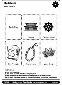 Buddhism: Match the Cards Worksheet