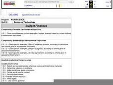 Budget Finances Lesson Plan
