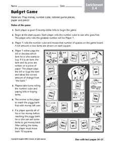 Budget Game Worksheet