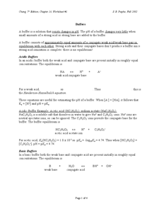 Buffers Worksheet