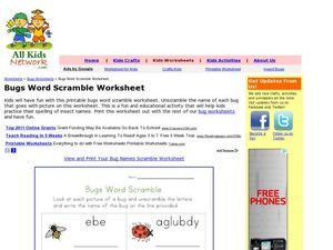 Bugs Word Scramble Worksheet Worksheet