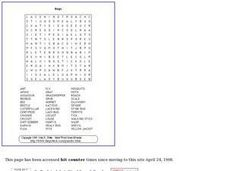 Bugs Word Search Puzzle Worksheet