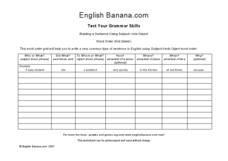 Building a Sentence Using Subject, Verb, Object Worksheet