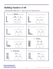 Building Numbers 11-40 Worksheet