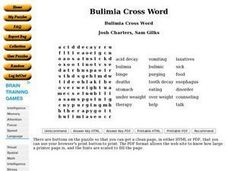 Bulimia Cross Word Worksheet