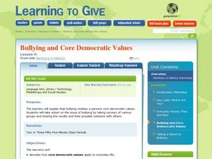 Bullying and Core Democratic Values Lesson Plan