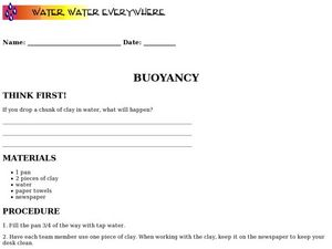Buoyancy Worksheet