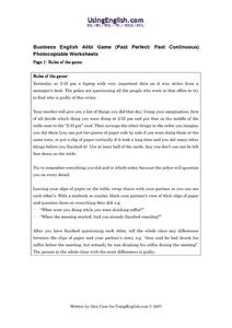 Business English Alibi Game Worksheet