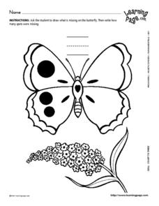 Butterfly and Number 3 Worksheet