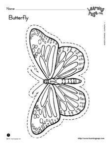 Butterfly Cut Out and Color Worksheet