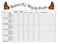 Butterfly Watch Form Worksheet