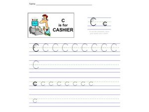 C is for Cashier: The Letter C Worksheet