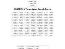 CAHSEE Literary Terms Word Search Puzzle Worksheet