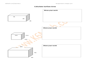 Calculate Surface Area Worksheet Worksheet