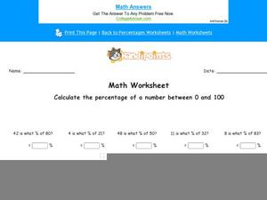 Calculate the Percentage of a Number Between 0 and 100: Part 6 Worksheet