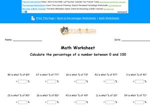 Calculate the Percentage of a Number Between 0 and 100 Worksheet