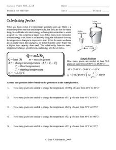 Calculating Joules Worksheet