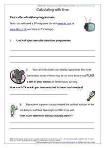 Calculating With Time-- Favourite Television Programmes Worksheet