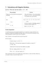 Calculations with Negative Numbers Worksheet