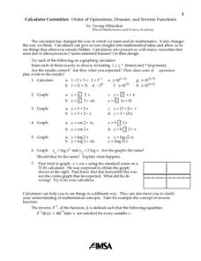 Calculator Curiosities: Order of Operations, Domain, And Inverse Functions Lesson Plan