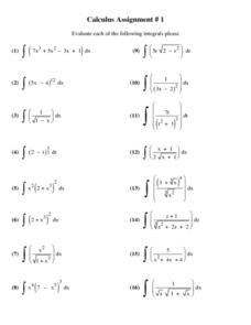 Calculus Assignment #1: Integrals 10th - 12th Grade Worksheet ...