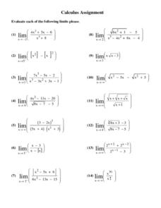 Calculus Assignment: Limits 11th - Higher Ed Worksheet | Lesson Planet