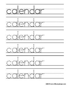 Calendar Tracing Practice Worksheet
